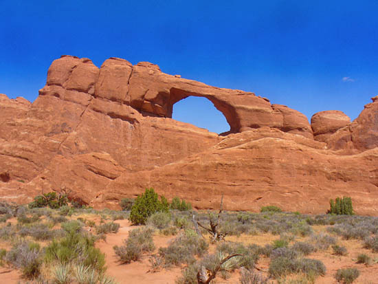 Skyline Arch is easily reached and well lit in the afternoon (GPS: N38 46.489 W109 35.463)