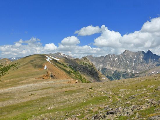 Looking north across Caribou Pass in the Indian Peaks Wilderness