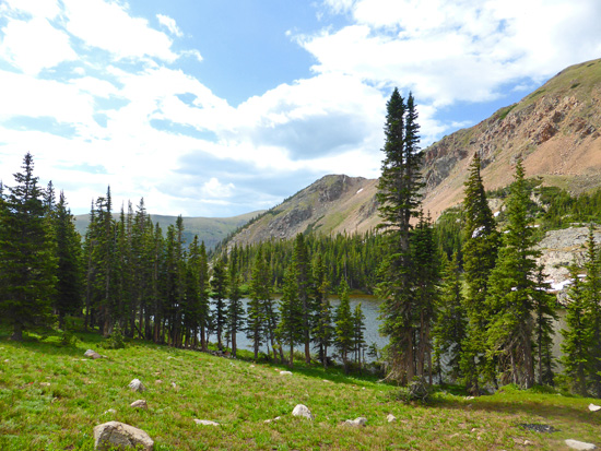 The open NW shore of Clayton Lake in the James Peak Wilderness