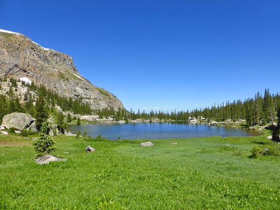 Grassy meadows on the south side of Columbine Lake (11,060')