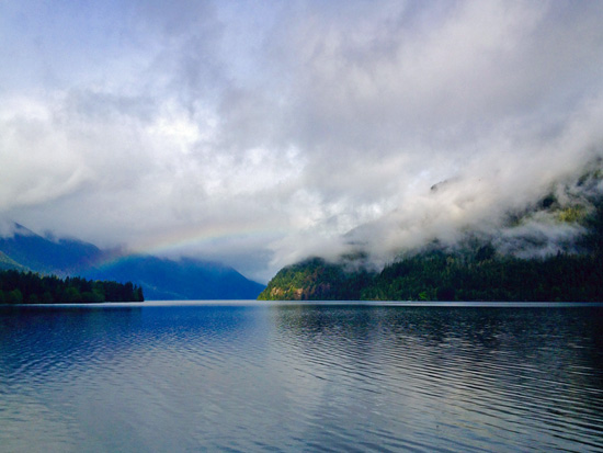Lake Crescent is 624' at its deepest point, with an average depth of 300'