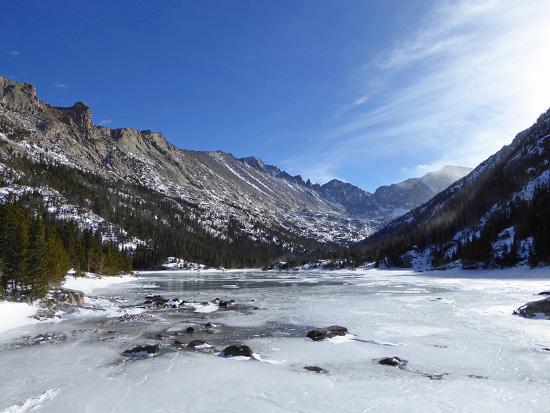 Mills Lake (9,955') is accessible in winter on a well-developed trail