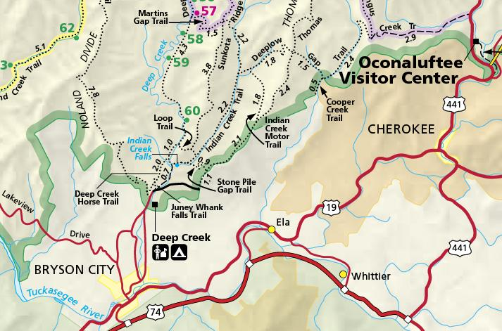 ProTrails | Juney Whank Falls, Trail Map, Deep Creek Trailhead ...